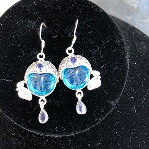 Jewelry - Sterling Silver Iolite&Quartz Face Earrings